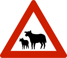 Traffic sign of Norway: Warning for sheep on the road