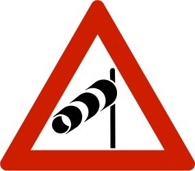 Traffic sign of Norway: Warning for heavy crosswind