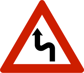 Traffic sign of Norway: Warning for a double curve, first left then right