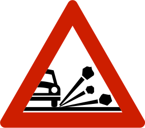 Traffic sign of Norway: Warning for loose chippings on the road surface