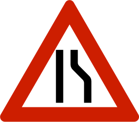 Traffic sign of Norway: Warning for a road narrowing on the right