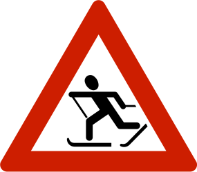 Traffic sign of Norway: Warning for skiers