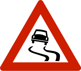 Traffic sign of Norway: Warning for a slippery road surface