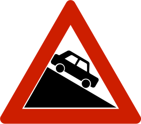 Traffic sign of Norway: Warning for a steep descent