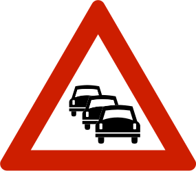 Traffic sign of Norway: Warning for traffic jams