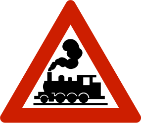 Traffic sign of Norway: Warning for a railroad crossing without barriers