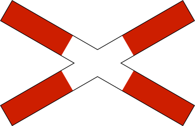Traffic sign of Norway: Warning for a railroad crossing with 1 railway