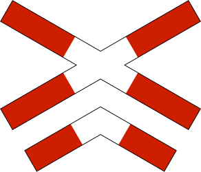 Traffic sign of Norway: Warning for a railroad crossing with more than 1 railway