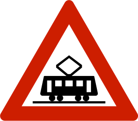Traffic sign of Norway: Warning for trams