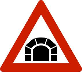 Traffic sign of Norway: Warning for a tunnel