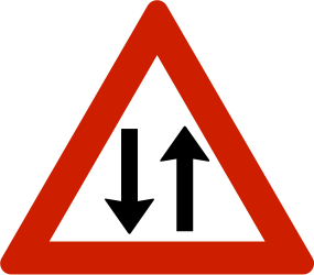 Traffic sign of Norway: Warning for a road with two-way traffic