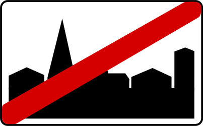 Traffic sign of Poland: End of the built-up area