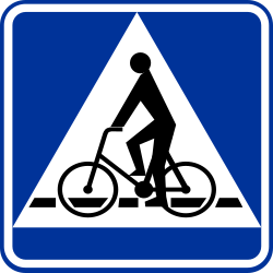 Traffic sign of Poland: Crossing for cyclists