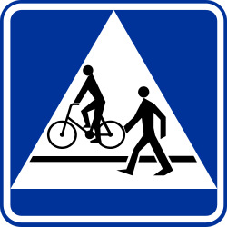 Traffic sign of Poland: Crossing for pedestrians and cyclists