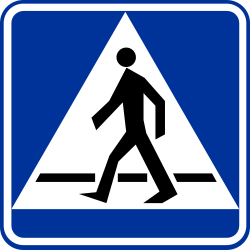 Traffic sign of Poland: Crossing for pedestrians