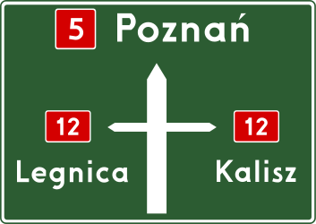 Traffic sign of Poland: Information about the directions of the crossroad
