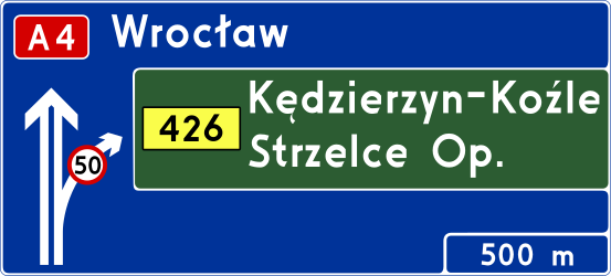 Traffic sign of Poland: Information about the next exit