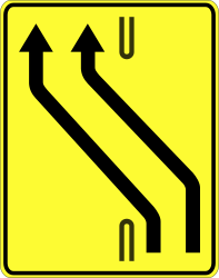 Traffic sign of Poland: Temporary change in the direction of the lanes