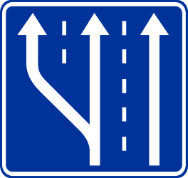 Traffic sign of Poland: Begin of a new lane
