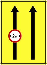 Traffic sign of Poland: Maximum width of a lane