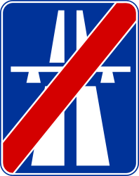 Traffic sign of Poland: End of the motorway