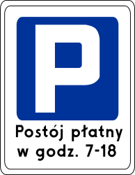 Traffic sign of Poland: Begin of a parking zone