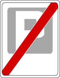 Traffic sign of Poland: End of the parking zone