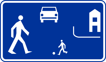 Traffic sign of Poland: Begin of a residential area