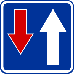 Traffic sign of Poland: Road narrowing, oncoming drivers have to give way
