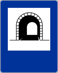 Traffic sign of Poland: Begin of a tunnel