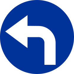 Traffic sign of Poland: Turning left mandatory