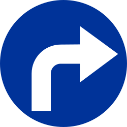 Traffic sign of Poland: Turning right mandatory