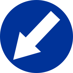 Traffic sign of Poland: Passing left mandatory