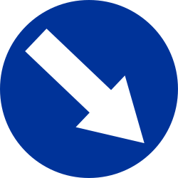 Traffic sign of Poland: Passing right mandatory