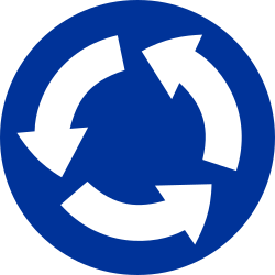 Traffic sign of Poland: Mandatory direction of the roundabout