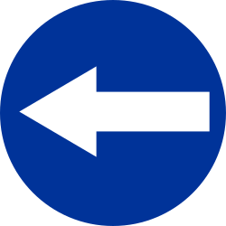 Traffic sign of Poland: Mandatory left