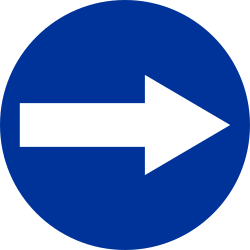 Traffic sign of Poland: Mandatory right