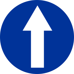 Traffic sign of Poland: Driving straight ahead mandatory