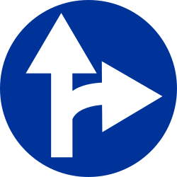 Traffic sign of Poland: Driving straight ahead or turning right mandatory