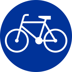 Traffic sign of Poland: Mandatory path for cyclists