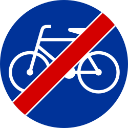 Traffic sign of Poland: End of the path for cyclists
