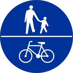 Traffic sign of Poland: Mandatory shared path for pedestrians and cyclists