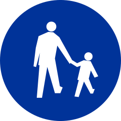 Traffic sign of Poland: Mandatory path for pedestrians