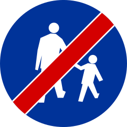 Traffic sign of Poland: End of the path for pedestrians
