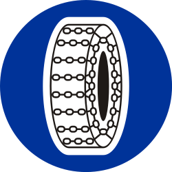 Traffic sign of Poland: Snow chains mandatory