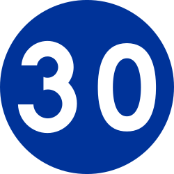 Traffic sign of Poland: Driving faster than indicated mandatory (minimum speed)
