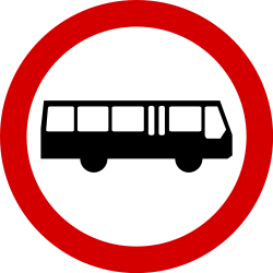 Traffic sign of Poland: Buses prohibited
