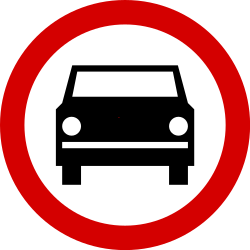 Traffic sign of Poland: Cars prohibited