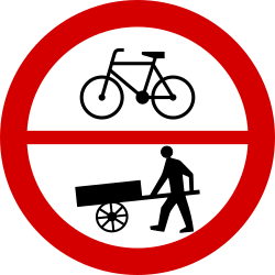 Traffic sign of Poland: Cyclists and handcarts prohibited