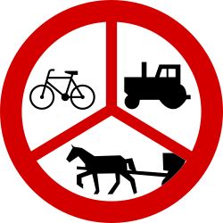 Traffic sign of Poland: Cyclists, horse carts and tractors prohibited